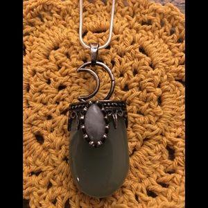 Jewelry - Adventurine Labradorite stone pendant moon crystal